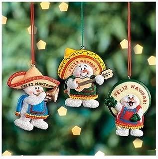 3 Feliz Navidad Snowman Christmas Ornaments/mexican Holiday Decor/tree Decorations