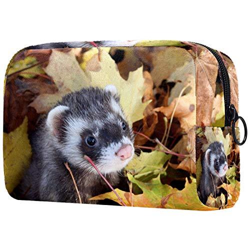 ATOMO Bolsa de maquillaje, bolsa de viaje de moda, neceser grande, organizador de maquillaje para mujeres, hurones de comadreja y hojas de otoño