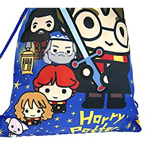 51FGTfCmG5L. SS300  - Harry Potter - Bolsa de gimnasio con cordón, estilo de dibujos animados para niños, color azul, tamaño Talla única