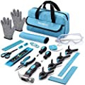 REXBETI 25-Piece Kids Tool Set with Real Hand Tools, Blue Durable Storage Bag, Children Learning Tool Kit for Home DIY and Woodworking
