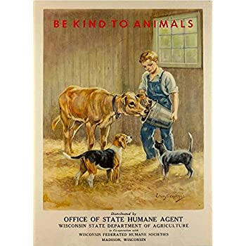 """11/""""x14/"""" Be Kind To Animals Vintage Poster Print Humane Office Cruelty Prevention"""
