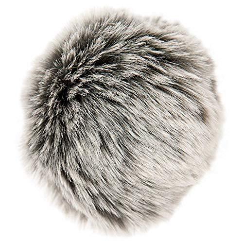 Rico Design Kunstfellbommel Premium grau-silber 10 cm - Bommel für Mützen und Beanies - Kunstfell Pompon für Taschen Anhänger Schuhe Hüte - DIY