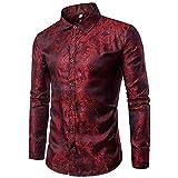 Loeay Camisa de Seda con Estampado Floral Hombres Moda Slim Fit Manga Larga Camisas para Hombres Fiesta Evento Camisa Social Masculina Vino Rojo L