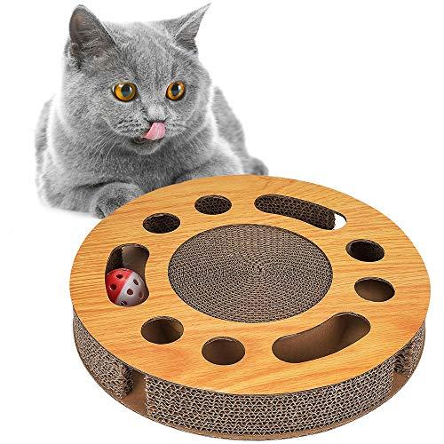 FREESOO - Rascador para Gatos (cartón, Alfombrilla para rascar, Juguete con Hierba gatera)
