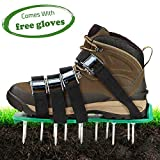 Hongsen Lawn Aerator Shoes Lawn Spikes Shoes 4 Adjustable Straps and Metal...