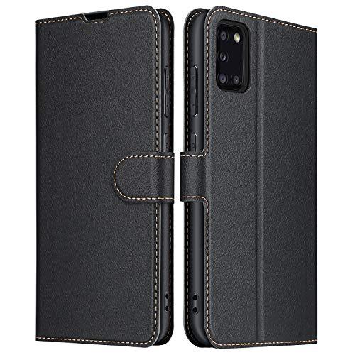 ELESNOW Hülle für Samsung Galaxy A31, Premium Leder Flip Schutzhülle Tasche Handyhülle mit [ Magnetverschluss, Kartenfach, Standfunktion ] für Galaxy A31 (Schwarz)