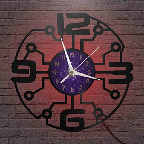 Circuit Board Elements - Reloj de pared LED con disco de vinilo de 12 pulgadas, reloj de pared de vinilo para cocina, hogar, sala de estar, dormitorio, escuela (P) - con LED para mujeres, hombres, ami