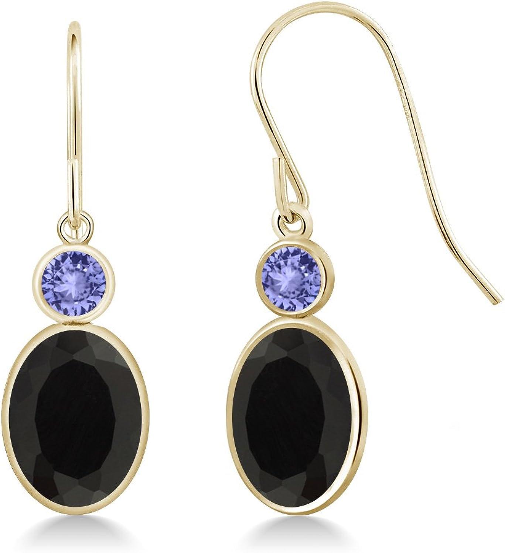 2.42 Ct Oval Black Onyx bluee Tanzanite 14K Yellow gold Earrings