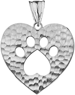 Elegant Sterling Silver Heart Shaped Cut-Out Paw Print Charm Pendant