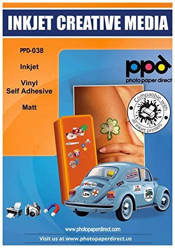 PPD A4 x 20 Blatt Inkjet PREMIUM Vinyl Aufkleberfolie Weiß Matt Selbstklebend - Speziell beschichtet für vollfarbige Drucke in Fotoqualität - Reißfest und Strapazierfähig - PPD-38-20