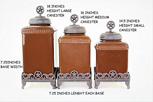 Review 3PC. COFFEE CERAMIC CANISTERS SET W/BASE (STAR, COPPER) FREE SALT & PEPPER