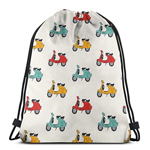 Lawenp Retro Vespa Drawstring Bag Shoulder Bag Print Backpack Travel Gym Bags Drawstring Backpack Lightweight for Traveling Gym Yoga Storage Gift
