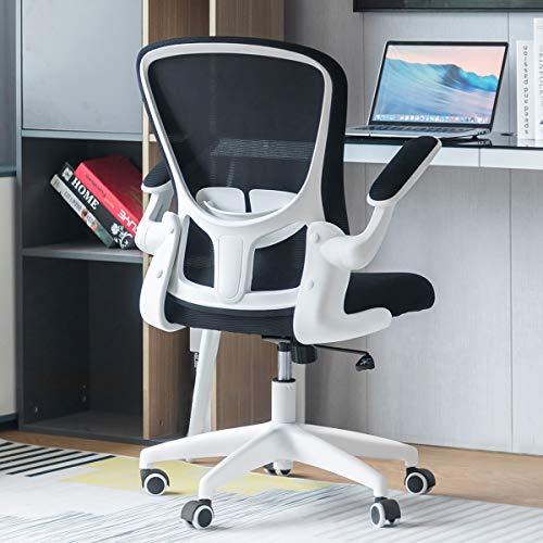 Sytas Bürostuhl, ergonomischer Schreibtischstuhl, Computerstuhl, Netzstoff, mit Klapparmen, Lendenwirbelstütze und verstellbarer Höhe, Weiß