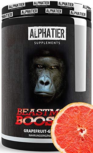 PRE WORKOUT BOOSTER BEASTMODE - 500g poeder - ALPHATIER Hardcorebooster met cafeïne, citrulline, L-arginine, creatine, beta-alanine - Training & Fitness Shake - Druivensmaak