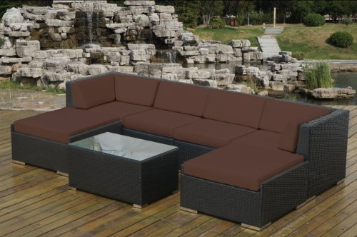 Hot Sale Genuine Ohana Outdoor Patio Wicker Furniture 7pc Sofa Set with Free Patio Cover
