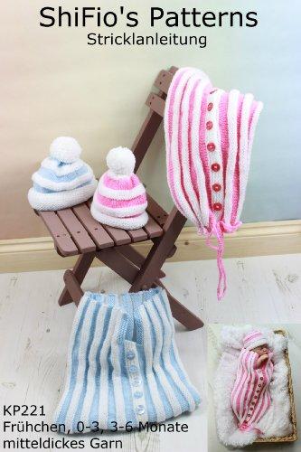 Strickanleitung  – KP221 - Schlafsack, Pucksack und Mütze für Babys in 3 Größen