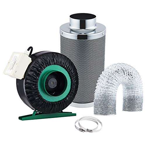 TERRADISE Inline Fan Carbon Filter Kit, 4 Inch Grow Tent Ventilation System, 203 CFM Exhaust Fan Charcoal Filter Combo, Greenhouse Hydroponic Supplies for Humidity and Temperature Control (4 Inch)