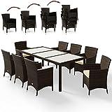 Deuba Poly Rattan Sitzgruppe Braun 8 Stapelbare Stühle & 1 Tisch 7cm Dicke Auflagen Gartenmöbel Lounge Garten Set