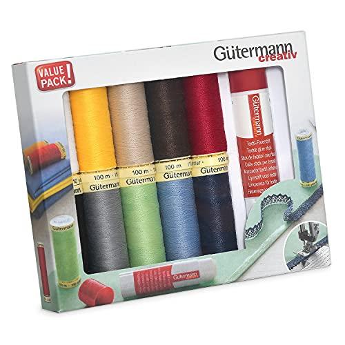 Guetermann 734567 Gutermann - Set di fili per cucire assortiti, 100 m x 10 bobine + colla per tessuti, multi, taglia unica