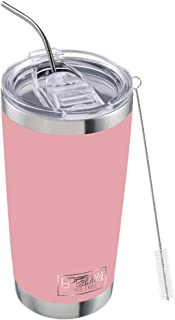 IMPR3·TREE 20 oz 18/8 Stainless Steel Vacuum Insulated Tumbler Travel Mug Water Bottle Coffee Cup Camping Thermoses with Seal Lid w/Straw,Pink