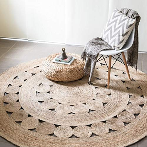 Fernish Décor Handwoven Jute Area Rug- Natural Yarn- Rustic Vintage Braided Reversible Rug- Eco Friendly (48 INCH Round)