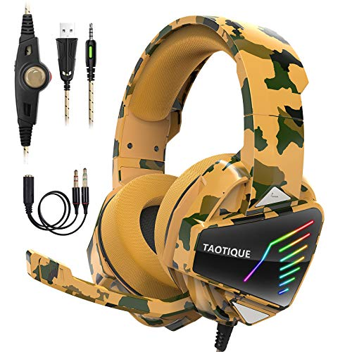 Taotique Gaming Headset for PS4 Xbox One PC Gaming Headphone with Crystal Stereo Bass Surround Sound, Noise-Isolation Microphone, Ergonomic Soft Earmuffs, RGB LED Light & in-line Volume Controller