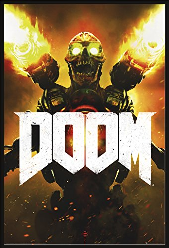 empireposter Doom - Key Art- Videospiel Game Poster Plakat Druck - Größe 61x91,5 cm + Wechselrahmen, Shinsuke® Maxi Kunststoff schwarz, Acryl-Scheibe