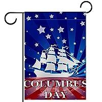 ガーデンヤードフラッグ両面 /12x18in/ ポリエステルウェルカムハウス旗バナー,帆船船アメリカ国旗