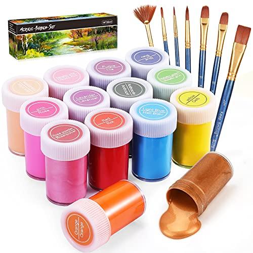 Gifort Set di Colori Acrilici per Dipingere, Set Pittura Acrilica da 14 X 20 ML con 7 Pennellin, Non Tossico & Colori Brillanti, Sicuro per Bambini, per Carta, Roccia, Legno, Ceramica