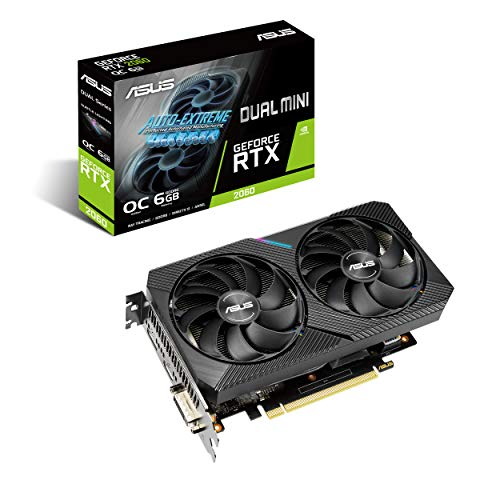 ASUS Dual NVIDIA GeForce RTX 2060 Mini Gaming Graphics Card (PCIe 3.0, 6GB GDDR6 Memory, HDMI, DisplayPort, DVI-D, for Intel NUC 9 Extreme Kit, Intel NUC 9 Pro Kit, and Small Chassis)