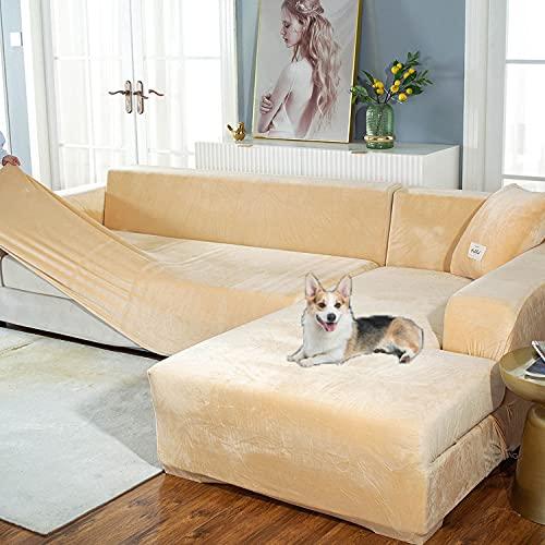 2 STÜCKE Verdicken Stretch Sofabezug L Form für Hunde Katzen Haustiere Kinder,Elastische Sofa Abdeckung Sofa Schonbezug für Wohnzimmer,Möbelschutz Sofabezüge Sofa überzug(2 kostenlose Kissenbez