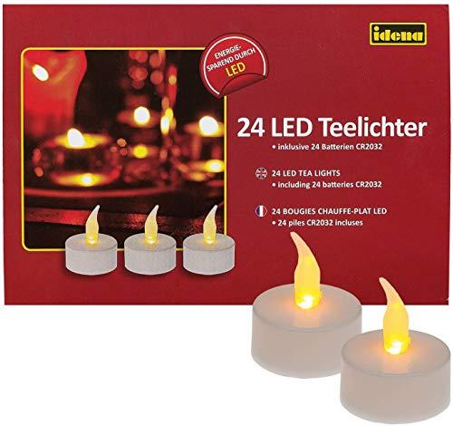Idena 50023-48 Stück LED Teelichte, Elektrische Kerzen mit flackerndem Licht, inklusive Batterien, Deko für Hochzeit, Party, Weihnachten, im Karton, Ostern, als Stimmungslicht