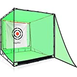 Gagalileo Golf Net Hitting Cage Practice Driving Net High Impact Double Back Stop with Target Automatic Ball Return Net for Backyard 7X7X7FT(2.1X2.1X2.1m)