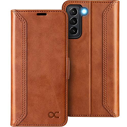 OCASE Retro Hülle Samsung Galaxy S21 Handyhülle Tasche PU Leder Flip Cover Brieftasche Etui RFID Schutzhülle Lederhülle Klapphülle Kompatibel für Galaxy S21 Braun 6,2 Zoll