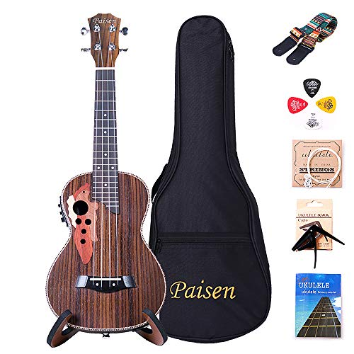 Paisen 23-inch Concert Electronic Ukulele Rosewood Professional Embedded Pickup Amplifier and Tuner Send Stand Capo Folk-custom Strap thick Bag and Full set of accessories