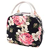 EurCross School Work Lunch Bag for Women Girls, Floral Canvas Compact Lunch Tote Bag Upgraded Lunch Box Bag for College Teens