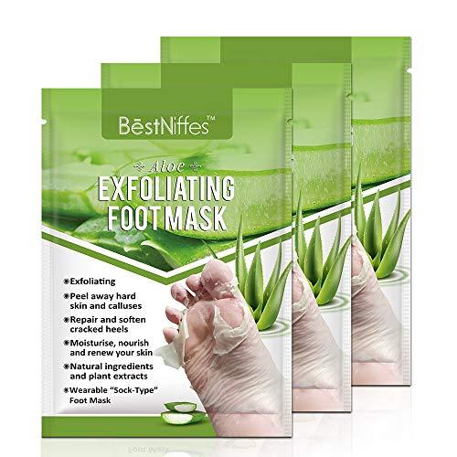 Foot Peel Mask 3 Pack, Exfoliating Foot Masks, Natural Exfoliator for Dry Dead Skin, Callus, Repair Rough Heels for Men Women (Aloe)