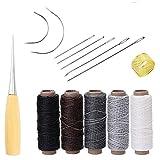 yulakes 14pcs piel Craft herramienta agujas para coser a mano tapicería alfombra piel lienzo DIY costura suministros con 5pcs 50M 150d piel costura hilo de cera