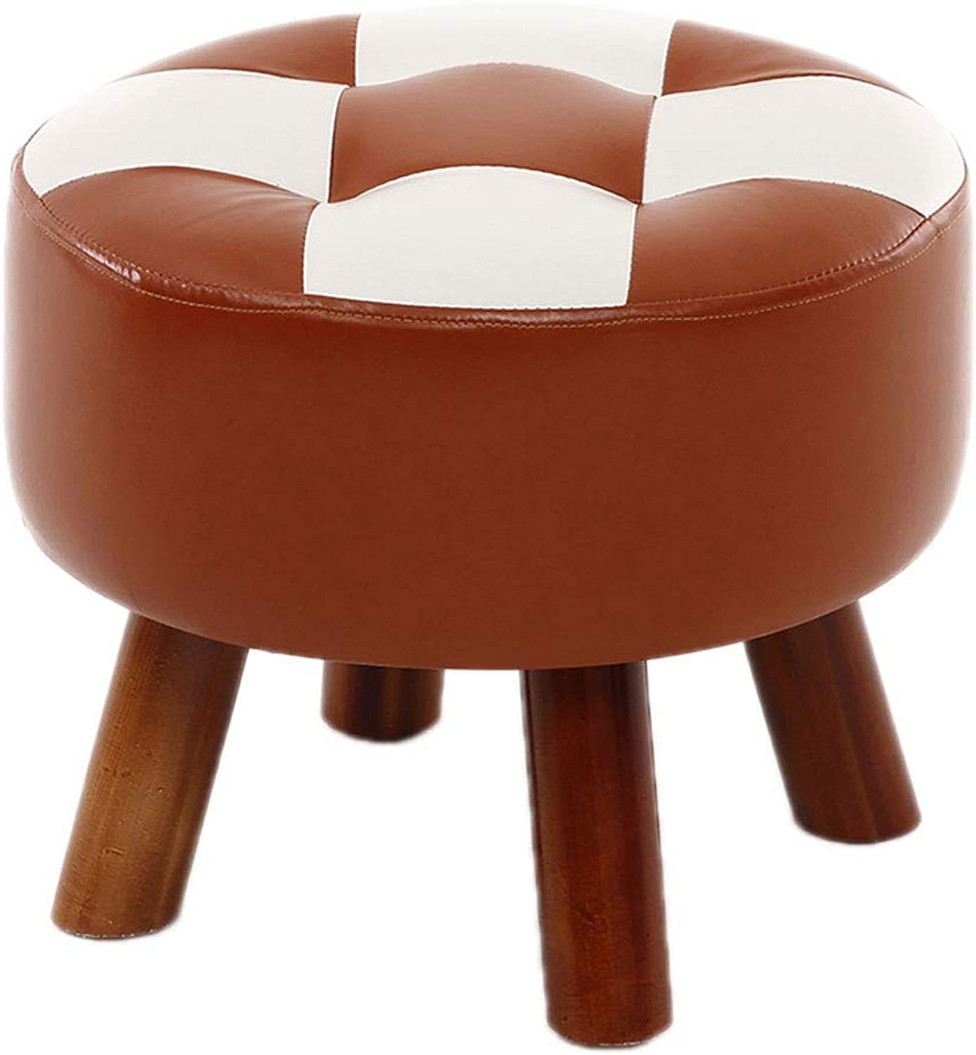 AJZGF Solid Wood Footstool Imitation Leather Stool shoes Sitting pier Dressing Stool - Small Stool (color   C)