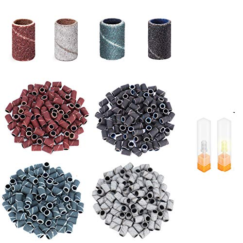 yinhua Sanding Bands for Nail Drill 400Pcs 4 Colors #80#120#150#180 Efile Sanding, with Electric Nail Drill Bits 3/32 Inch Professional for Acrylic Nails Manicure Home Salon Use