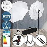 Kit d'Éclairage pour Studio Photo - 2 Parapluies, 2 Supports Trépied Réglables (78-230 cm), 2 Ampoules (E27) et Sac de Transport - Kit de Lumière pour Studio Vidéo, Photographie
