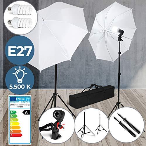 Studioleuchte Set - EEK: A, LED E27, Stativ höhenverstellbar 78-230 cm, mit Transporttasche - Durchlichtschirm Kit, Dauerlicht, Studio Lights, Fotostudio Licht, Beleuchtung, Portrait Lampe, Fotografie
