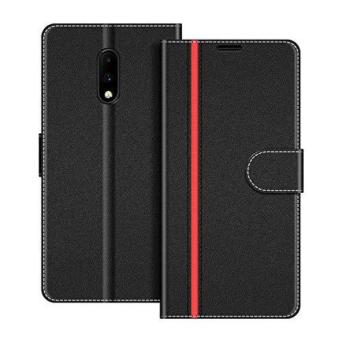COODIO Handyhülle für OnePlus 7 Handy Hülle, OnePlus 7 Hülle Leder Handytasche für OnePlus 7 Klapphülle Tasche, Schwarz/Rot