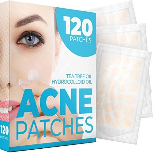 Acne Patches 120 Pack Tea Tree Oil and Hydrocolloid Acne Patches for Face 3 Sizes Pimple Patch product image
