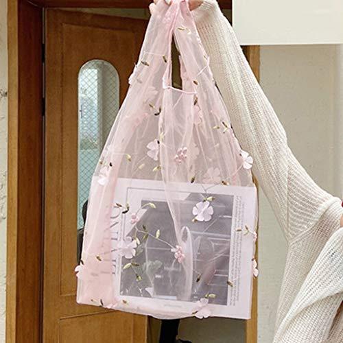 friendsty ショッピングバッグ、女性レディース多機能メッシュ布バッグトート女性大容量花刺繍ショッピング...