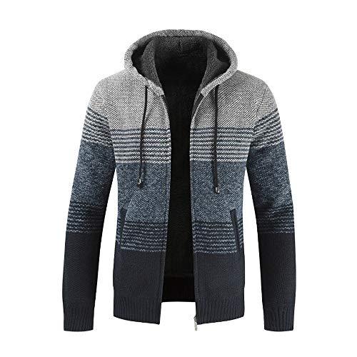 MERICAL Uomo Inverno Cardigan a Righe con Cappuccio Zipper Outwear Tops Maglione Camicia Cappotti(Grigio,XXXL)