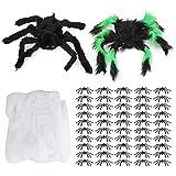 Halloween Black Spider,2 piezas de 30 cm de araña negra y 3 piezas de telaraña y 50 piezas de 4,5 cm de araña pequeña,broma de decoración de miedo realistas para decoraciones de fiesta de Halloween