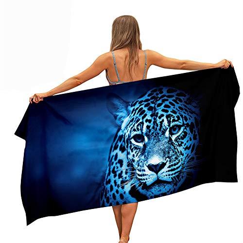Surwin Strandhandtuch Mikrofaser, 3D Tier Leopard Drucken Strandtuch Sommer Strandtücher Leicht Schnelltrocknend Sand Proof Saugfähig Handtücher für Reise Schwimmen (Blaues Licht,70x150cm)
