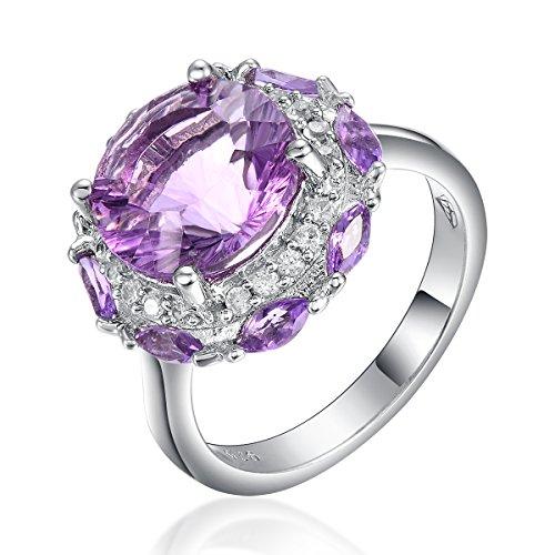 Hutang Jewelry  -  925 Sterling-Silber  Sterling-Silber 925 Rundschliff Marquiseschliff   lila weiß Oxyde de Zirconium Améthyste Fluorite