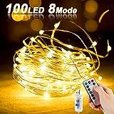 LED Kupferdraht Lichterkette,100LEDs Lichterkette im 10M USB-Anschluss mit Fernbedienung 8 Programm...